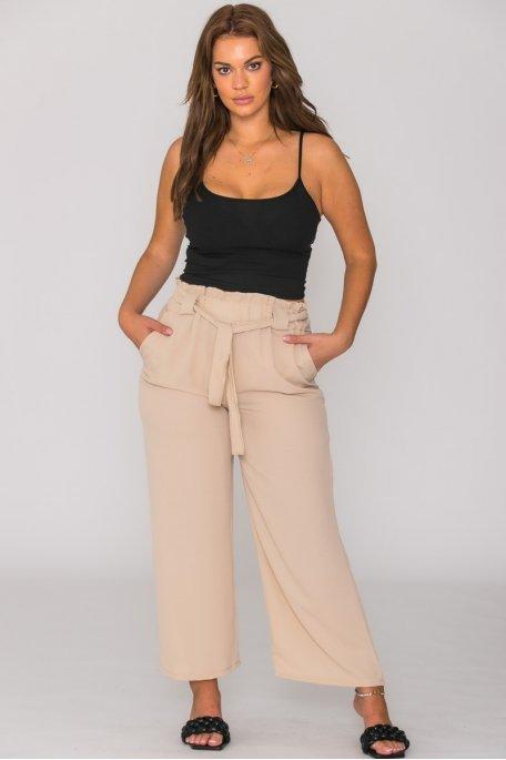 Pantalon fluide à poches beige