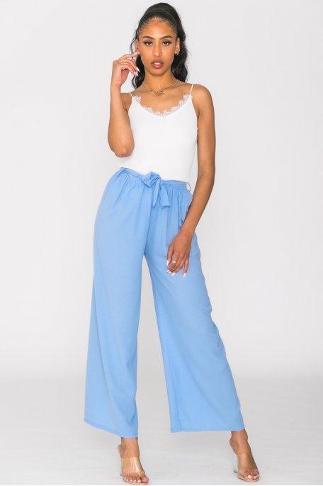 Pantalon ceinturé uni bleu