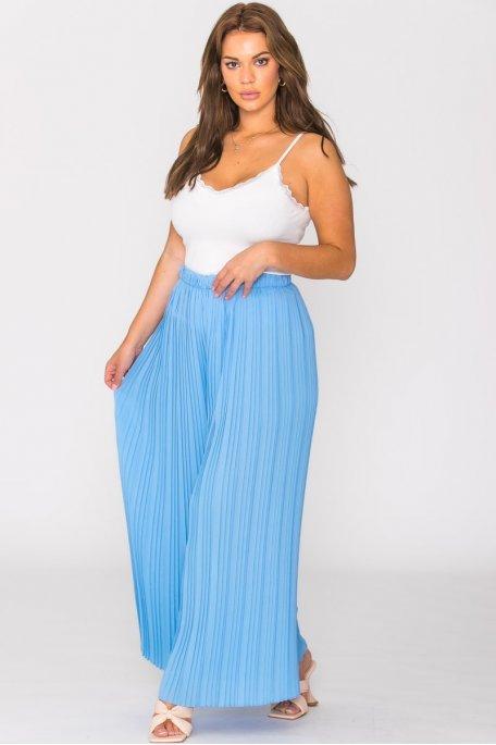 Pantalon plissé large bleu