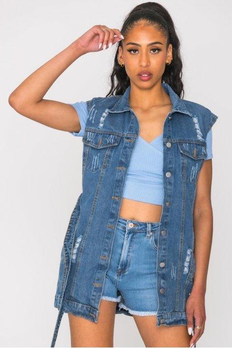 Veste en jean sans manche ceinturée bleu