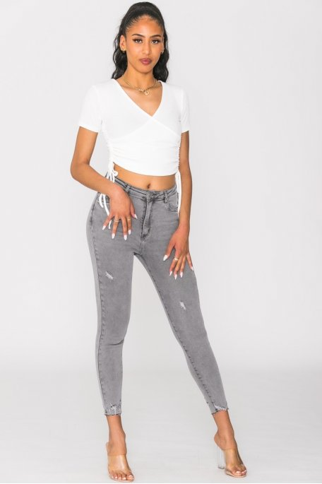Jean taille haute skinny gris