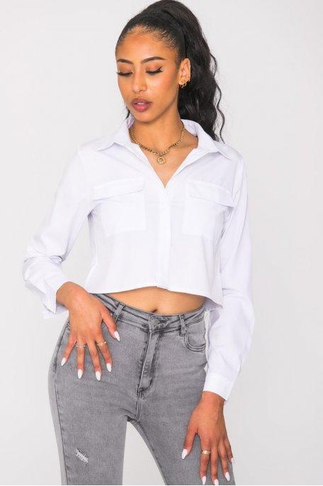 Chemise courte à poches blanc