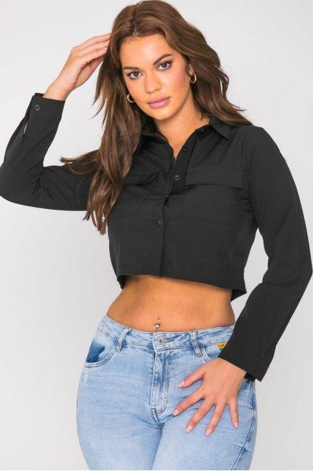Chemise courte à poches noir