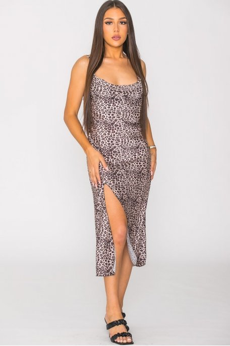 Robe midi léopard noir