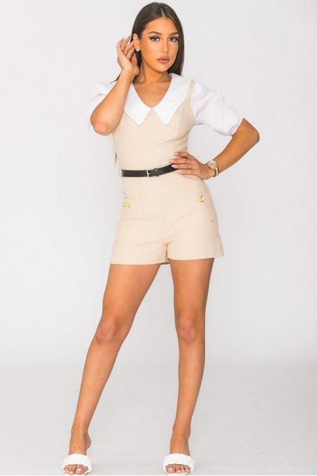 Combi-short bi-matière col chemise beige