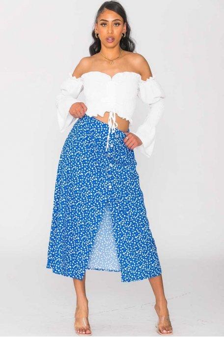 Jupe fendue fleurie à bouton nacré bleu