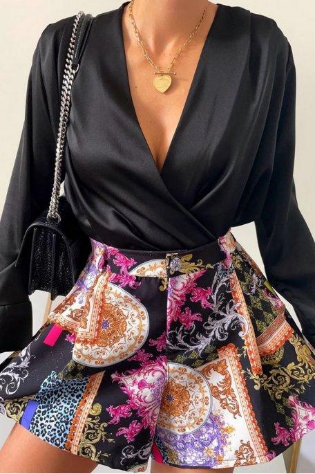 Short évasé motif arabesque noir