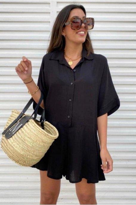 Combishort large style chemise noir
