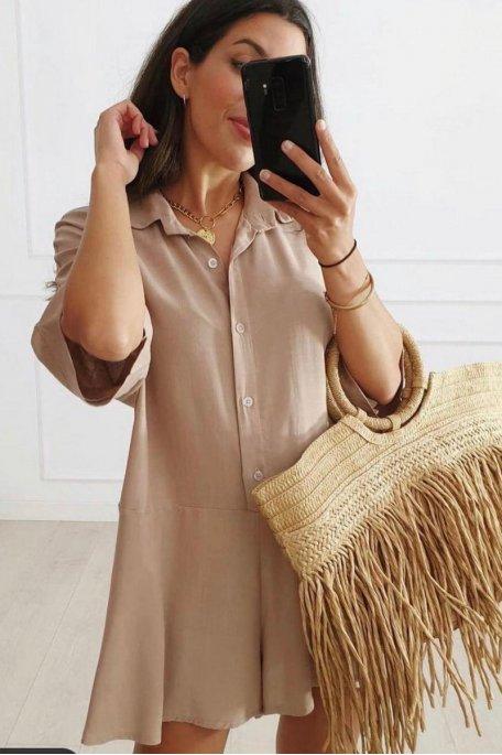 Combishort large style chemise beige