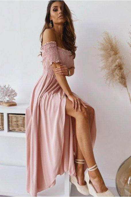 Robe col bardot froncée fendue rose
