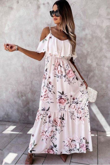 Robe longue imprimé rose à volants blanc