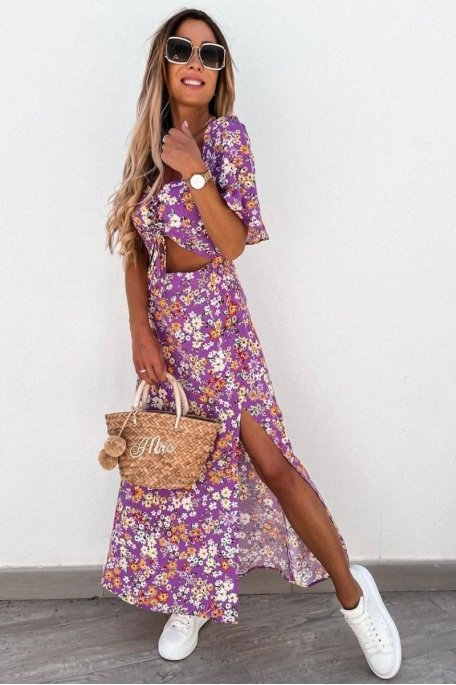 Robe longue fleurie ajourée et smockée violet