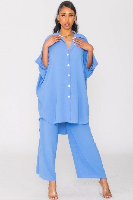 Ensemble ample tunique et pantalon bleu
