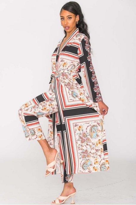 Ensemble kimono et pantalon motif cachemire noir
