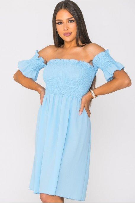 Robe courte col Bardot froncé bleu