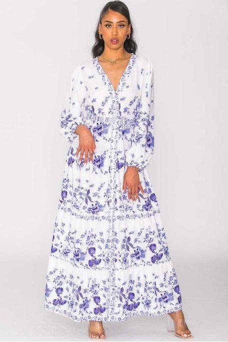 Robe longue boutonnée motif fleurs violet