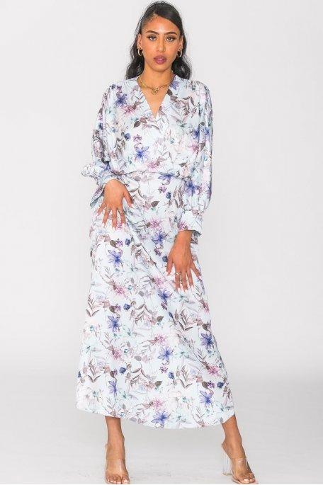 Robe longue satinée fleurie cache-cœur bleu