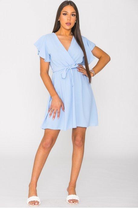 Robe courte ceinturée unie bleu