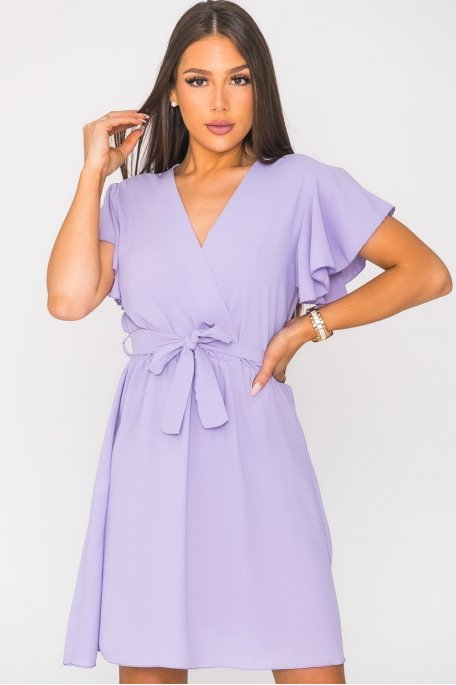Robe courte ceinturée unie violet