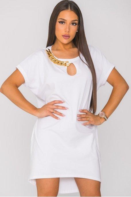 Robe tee-shirt à chaîne blanc