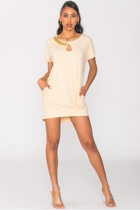 Robe tee-shirt à chaîne beige