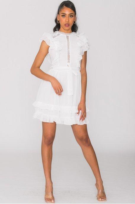 Robe courte volantée broderie blanc