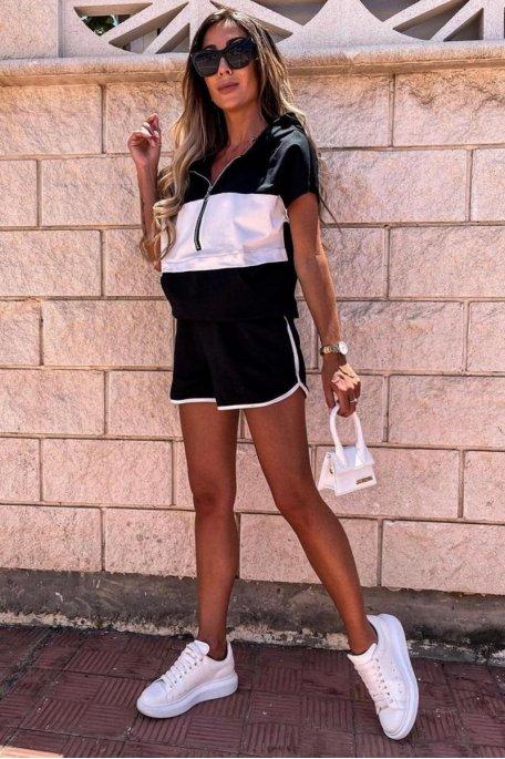 Ensemble bicolore short et tee-shirt à capuche noir