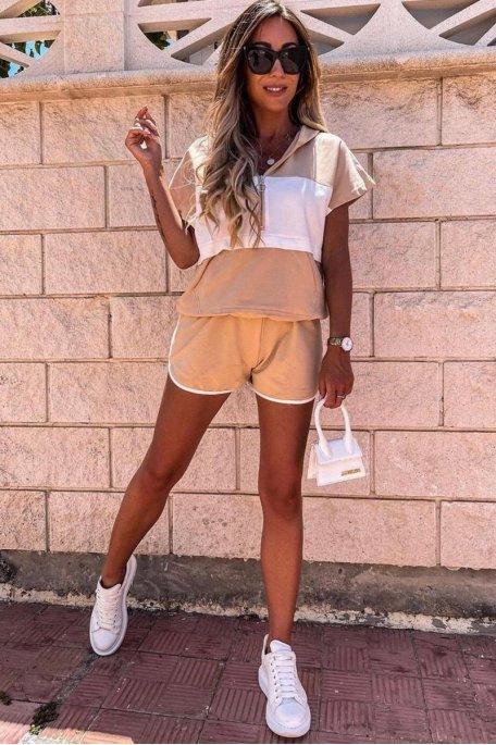 Ensemble bicolore short et tee-shirt à capuche beige