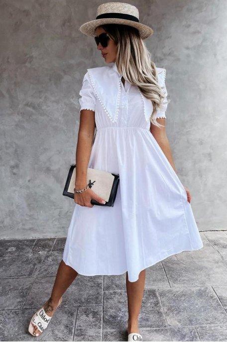 Robe chemise mi-longue grand col blanc