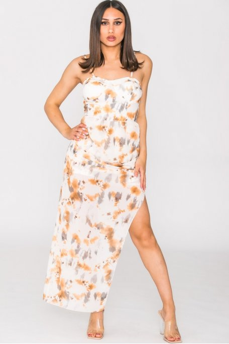 Combishort tie and dye jupe voile blanc