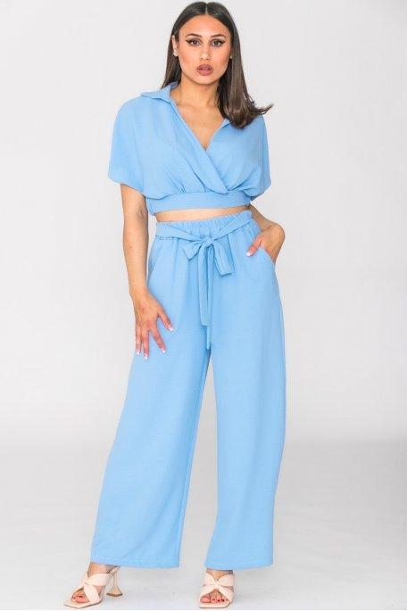 Ensemble fluide pantalon crop top bleu