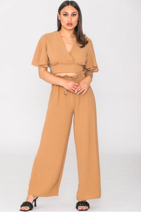 Ensemble fluide crop-top et pantalon camel