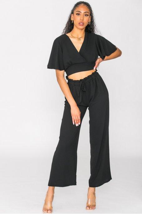Ensemble fluide crop-top et pantalon noir