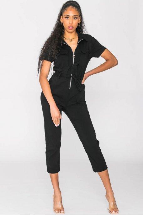 Combinaison manches courtes zippée noir