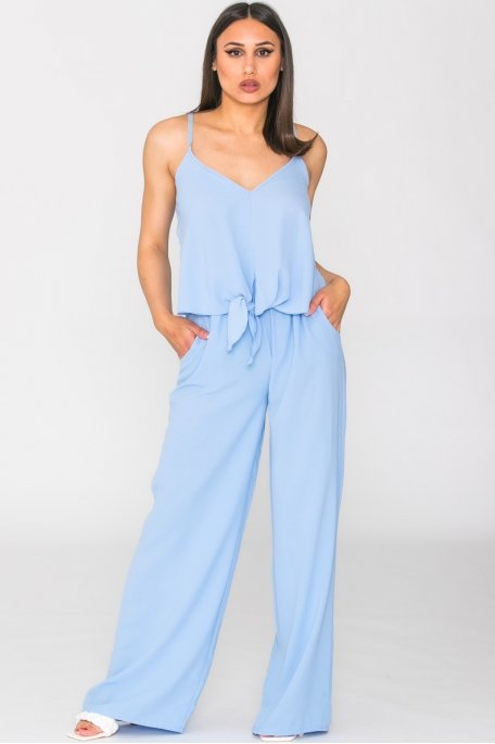 Ensemble fluide débardeur et pantalon bleu