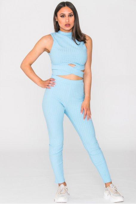 Ensemble legging côtelé et crop top croisé bleu