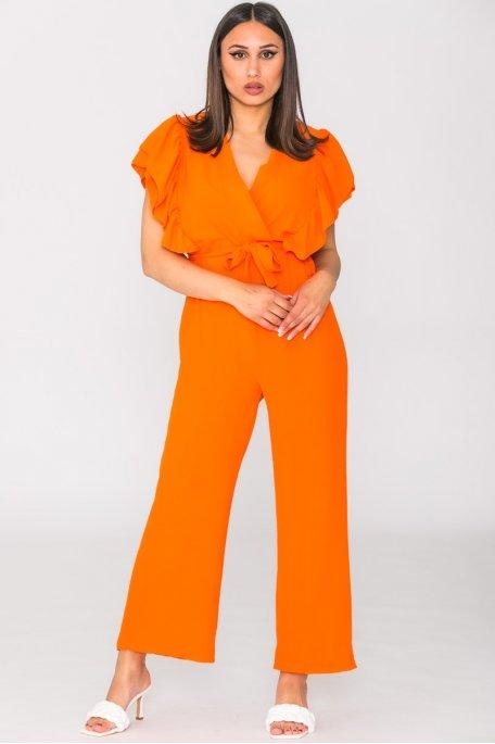 Combinaison ceinturée manches volantées orange