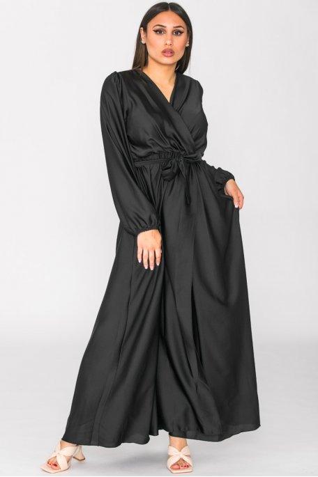 Robe longue cache-coeur fendue satinée noir