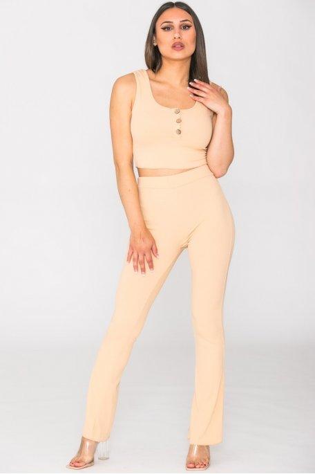 Ensemble pantalon crop top bouton beige