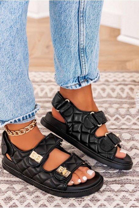 Sandales matelassées noir