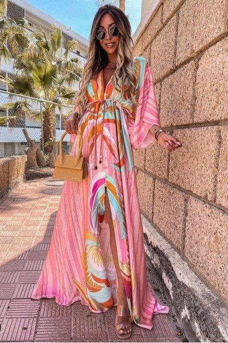 Robe longue satinée à motif coloré rose