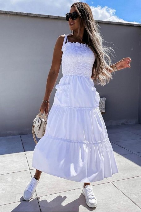 Robe buste froncé jupe à volants blanc