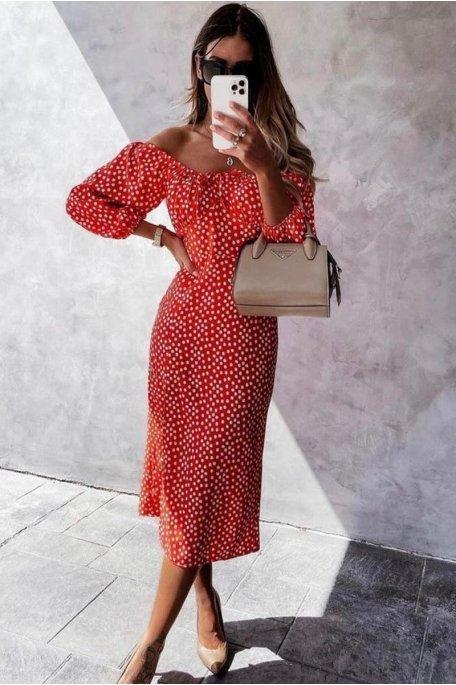 Robe mi-longue col bardot petites fleurs rouge