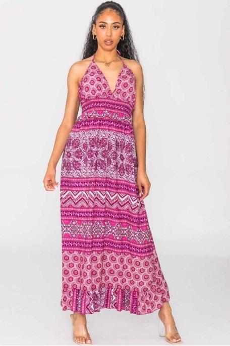 Robe longue arabesque à nouer violet