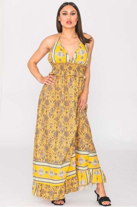 Robe longue arabesque à nouer jaune