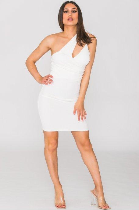 Robe côtelée asymétrique blanc