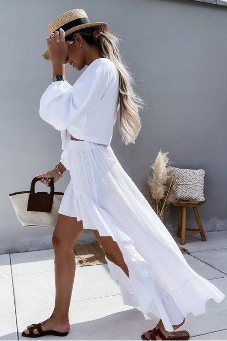Jupe coton asymétrique blanc