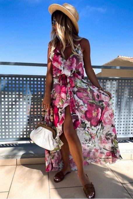 Robe longue fluide fendue fleurie rose