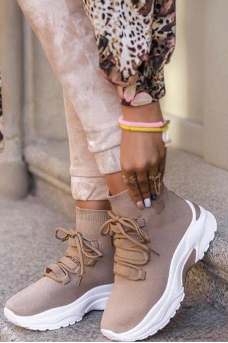 Baskets chaussettes semelle épaisse beige