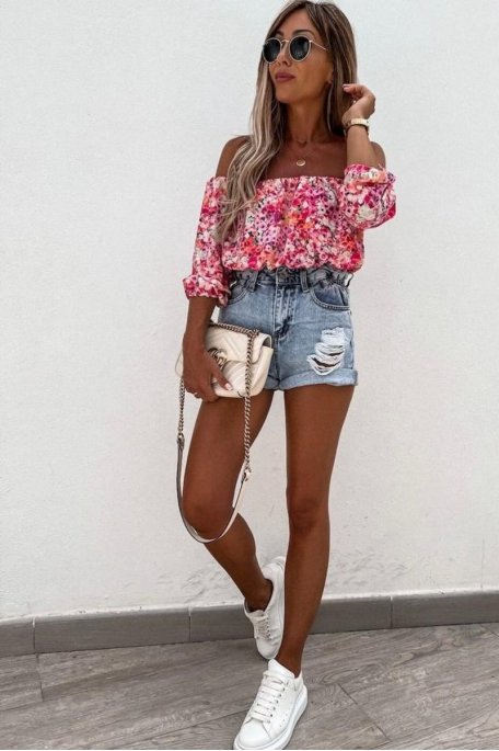 Top fleuri encolure bardot rose